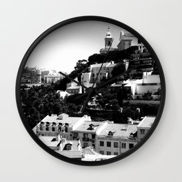 Portugal Hills, Lisbon | Black & White Wall Clock