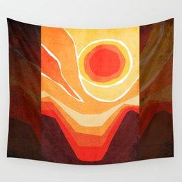 Modern Mid-Century Desert Sunset Wall Tapestry