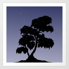 Firefly Tree Sunset with Stars Art Print