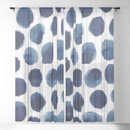 Watercolor polka dots Sheer Curtain