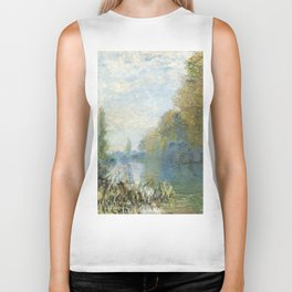 The Banks of The Seine in Autumn by Claude Monet Biker Tank