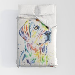 Yellow Lab Colorful Watercolor Painting - Puppy Star Comforters