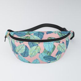 Tropical leaves on Pink Fanny Pack