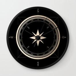 Black on Gold Metallic Compass Wall Clock