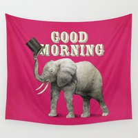 good morning Wall Tapestries featuring Good Morning by Eric Fan