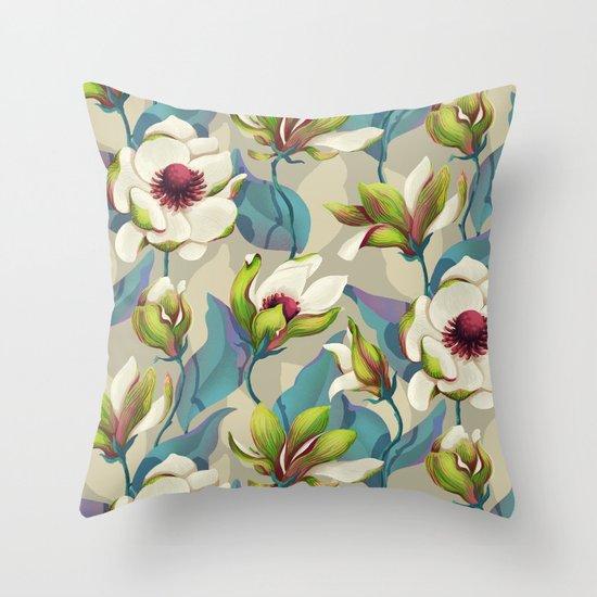 magnolia bloom - vivid version Throw Pillow