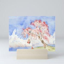 Girl on a Sakura Tree Swing with Cats Mini Art Print