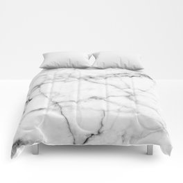Pure White Real Marble Dark Grain All Over Comforters