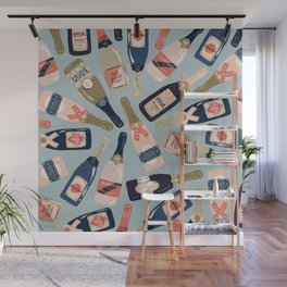 French Champagne Collection – Navy & Coral Wall Mural
