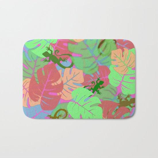 Monstera and Lizards (Retro Pink) Bath Mat