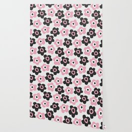 Black and pink flowers Wallpaper