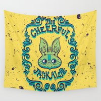 jackalope Wall Tapestries featuring The Cheerful Jackalope by Popnyville