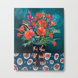 California Poppy and Wildflower Bouquet on Emerald with Tigers Still Life Painting Metal Print