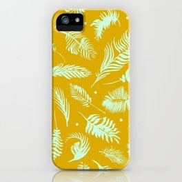 Golden palm pattern with bright mint color iPhone Case