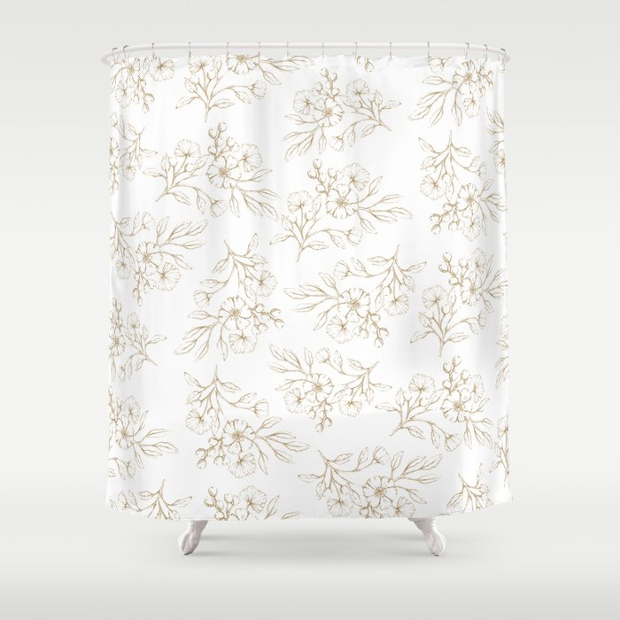 Shabby Vintage Pastel Brown White Elegant Floral Shower Curtain By Pink Water
