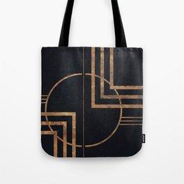 Art Deco Navy And Gold Geometric Print Tote Bag