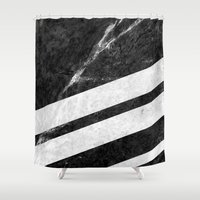 Black Striped Marble Shower Curtain