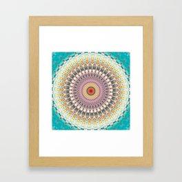 Teal Orange Yellow Boho Mandala Framed Art Print