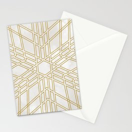 Golden stars on cream marble Stationery Cards