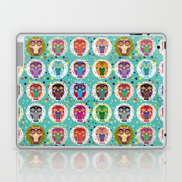 funny colored owls on a turquoise background Laptop & iPad Skin