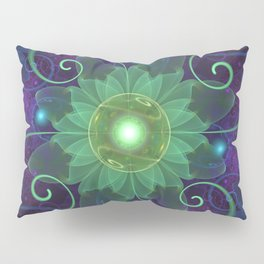 Glowing Blue-Green Fractal Lotus Lily Pad Pond Pillow Sham