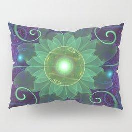 Glowing Blue-Green Fractal Lotus Lily Pad Pond Pillow Sham