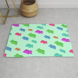 Kids Nursery Art Cute And Colorful Triceratops Dinosaur Pattern Rug