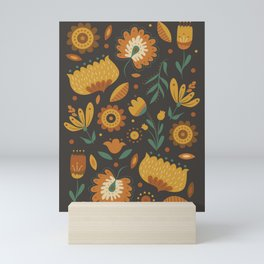 Autumn Folk Art Florals Mini Art Print