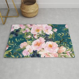 Floral Watercolor Rose Garden, Teal and Pink,  Vintage, Wall Art Boho Rug