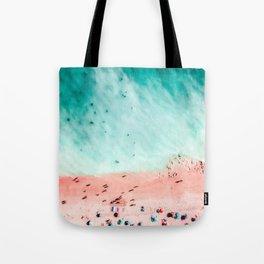 People Crowd On Algarve Beach In Portugal, Crowded Beach, Beach Print, Pink Beach Print, Art Print Tote Bag