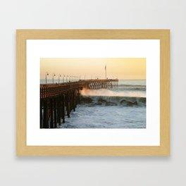 Ventura Pier with Big Wave Framed Art Print