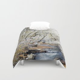 A Creek on a Snowy Day in Boulder, Colorado Duvet Cover
