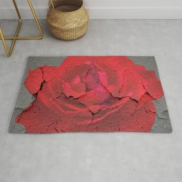 SHABBY CHIC RED ROSE GARDEN  GREY ART Rug