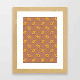Sunny Family boy hand drawn home decor and textile design kids pattern on terracotta color Framed Art Print
