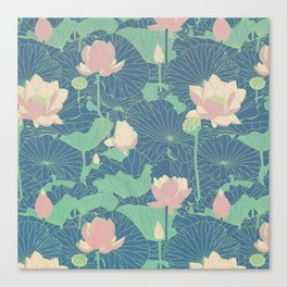 WATER LILIES (COLORED) Canvas Print