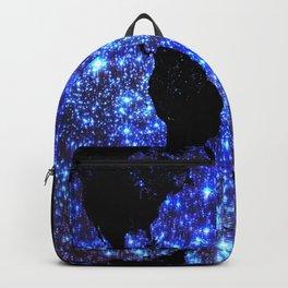world Map Blue Swirl Galaxy Sparkle Backpack