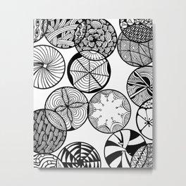 Vortex of Change Circular Zentangle Zendoodle Artwork Metal Print