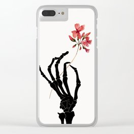 Skeleton Hand with Flower Clear iPhone Case