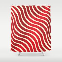 Abstract Waves illusion Pattern - Red Shower Curtain