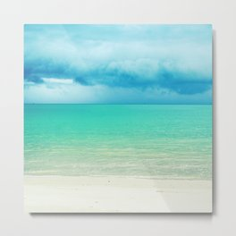 Blue Turquoise Tropical Sandy Beach Metal Print