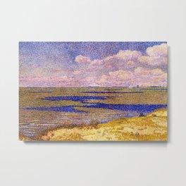 Barrier Beach and Salt Ponds, Summer seaside ocean landscape painting by Theo Van Rysselberghe Metal Print