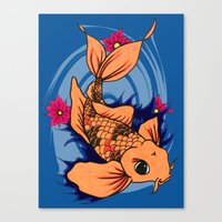 koi fish Canvas Prints featuring koi fish by Pinkspoisons