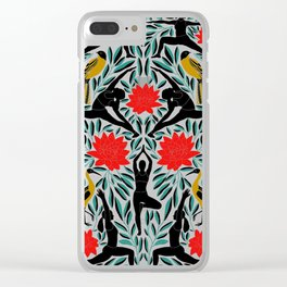 Yoga Girls Illustration with Lotus Flowers and Leaves // Vibrant Folk Art Colors Clear iPhone Case