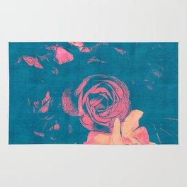 Garden Blue 1 - Texture Rose Study in red peach scarlet indigo Rug