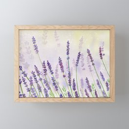 Lavender Flowers Watercolor Framed Mini Art Print