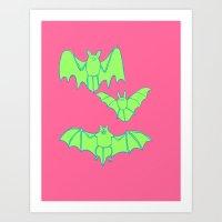 bats Art Prints featuring Bats by idrewthestars