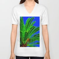 palm tree V-neck T-shirts featuring Palm Tree by Phil Smyth