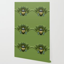 """Tropical green and indigo jungle Woman"" Wallpaper"