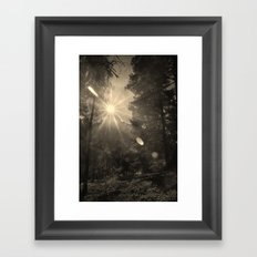 The sun through the mountain. Retro Framed Art Print