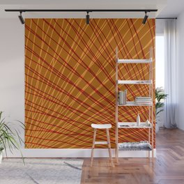 Rays of bronze light with mirrored red waves on mesh. Wall Mural
